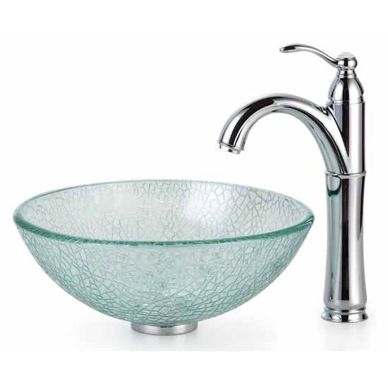 Kraus Broken Glass 14 inch Vessel Sink and Rivera Faucet, Chrome
