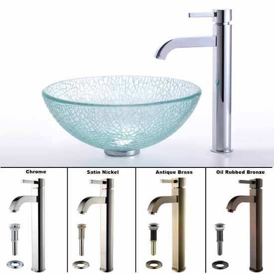 Kraus Broken Glass 14 inch Vessel Sink and Ramus Faucet Set