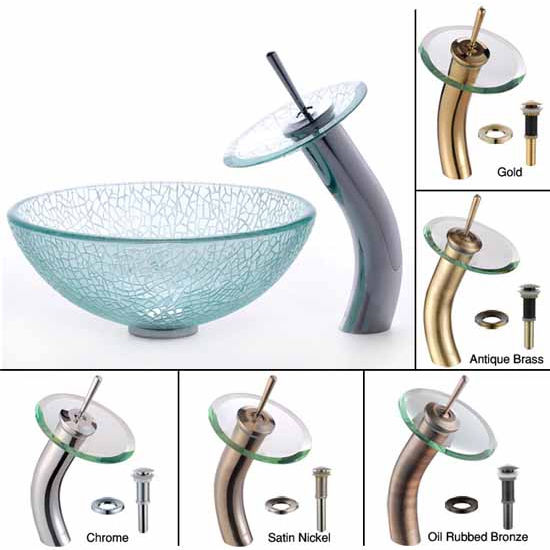 Kraus Broken Glass 14 inch Vessel Sink and Waterfall Faucet Set