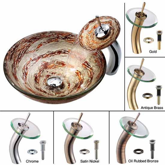 Kraus Ares Glass Vessel Sink and Waterfall Faucet