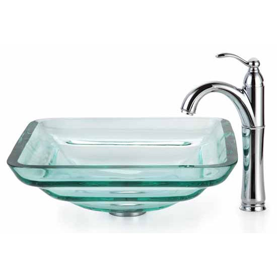 Kraus Clear Aquamarine Glass Vessel Sink and Rivera Faucet, Chrome