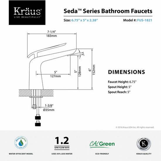 KRS-FUS-1821 Premier Collection Seda Single Lever Basin Bathroom ...