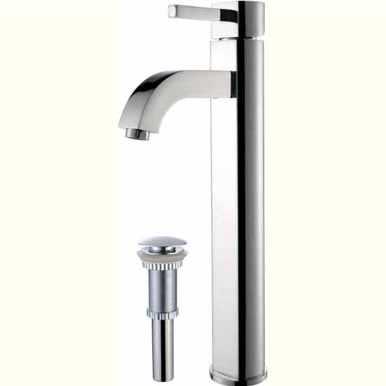 Kraus Ramus Single Lever Vessel Mixer with Matching Pop Up Drain, Chrome