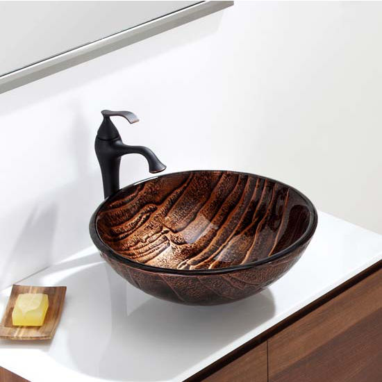 Kraus Nature Series Gaia Round Glass Vessel Sink, 17u0027u0027 Dia X 6u0027