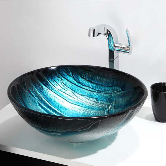 Charming Kraus Nature Series Ladon Round Glass Vessel Sink, 17u0027u0027 Dia X 6u0027