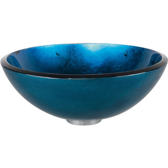 "Kraus Irruption Blue 14'' or 16-1/2"" Dia Glass Vessel Sink"
