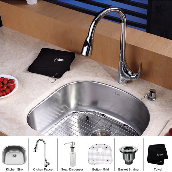 "Kraus 23"" Undermount Single Bowl Stainless Steel Kitchen Sink with Chrome Kitchen Faucet and Soap Dispenser"