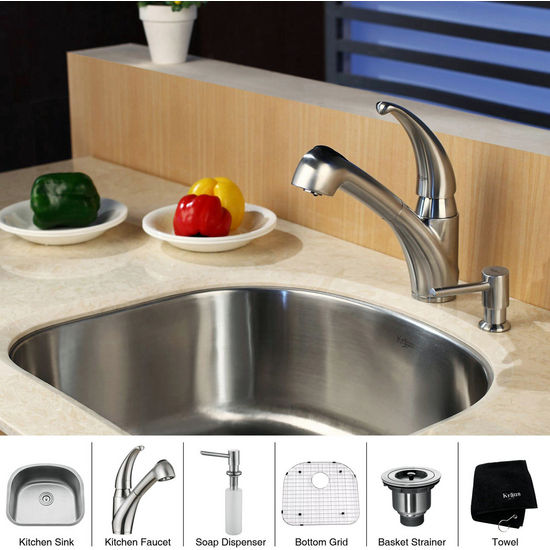 "Kraus Stainless Steel 23"" Undermount 16 Gauge Single Bowl Kitchen Sink with Kitchen Faucet and Soap Dispenser"