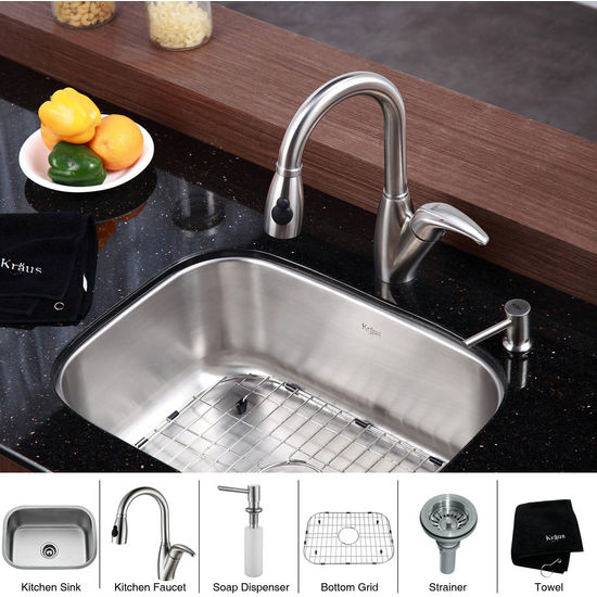 Kraus  Stainless Steel 23 inch Undermount 16 gauge Single Bowl Kitchen Sink with a Gooseneck Kitchen Faucet 8 inch Reach, Curved Handle and Soap Dispenser, Stainless Steel