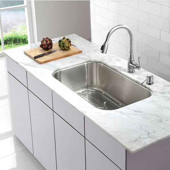 Kraus 31-1/2\'\' Undermount Single Bowl Stainless Steel Kitchen Sink ...