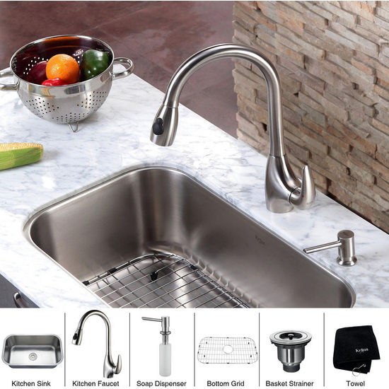 Kraus  30 inch Undermount Single Bowl 16 gauge Stainless Steel Kitchen Sink with Rounded Corners and Stainless Steel Pull out Kitchen Faucet with Soap Dispenser, Stainless Steel