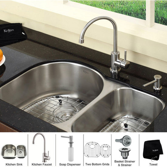 Kraus Undermount 16 gauge Double Bowl Kitchen Sink with Gooseneck Kitchen Faucet and Soap Dispenser