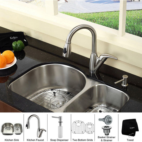 Kraus  Stainless Steel 30 inch Undermount 16 gauge Double Bowl Kitchen Sink with a Gooseneck Kitchen Faucet 8 inch Reach, Curved Handle and Soap Dispenser, Stainless Steel