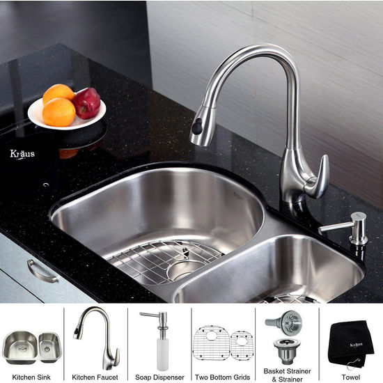 "Kraus  32 inch Undermount Double Bowl 16 gauge Stainless Steel Kitchen Sink (Bowl Sizes 16 1/2"" L x 17 1/2"" W x 9"" D, 10 1/2"" L x 16"" W x 7"" D) and Stainless Steel Pull out Kitchen Faucet with Soap Dispenser, Stainless Steel"