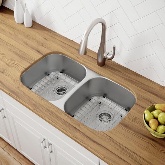 Kraus 32-1/4'' Undermount 50/50 Double Bowl 16 Gauge Stainless Steel Kitchen Sink | KitchenSource.com