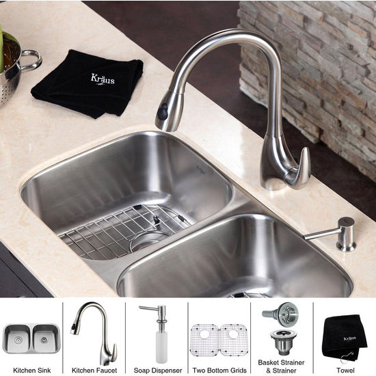 Kraus  32 inch Undermount 50/50 Double Bowl 16 gauge Stainless Steel Kitchen Sink and Stainless Steel Pull out Kitchen Faucet with Soap Dispenser, Stainless Steel