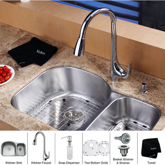 "Kraus 32"" Undermount Double Bowl Stainless Steel Kitchen Sink with Chrome Kitchen Faucet and Soap Dispenser"