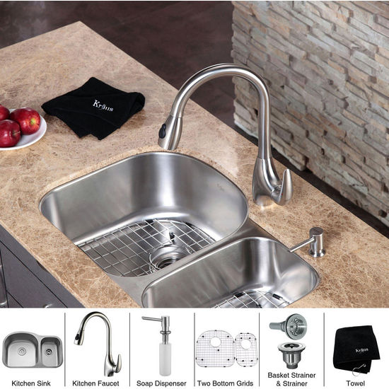 "Kraus  32 inch Undermount Double Bowl 16 gauge Stainless Steel Kitchen Sink (Bowl Sizes 17 3/4"" L x 18 1/2"" W x 9"" D, 10 1/2"" L x 16"" W x 7"" D) and Stainless Steel Pull out Kitchen Faucet with Soap Dispenser, Stainless Steel"