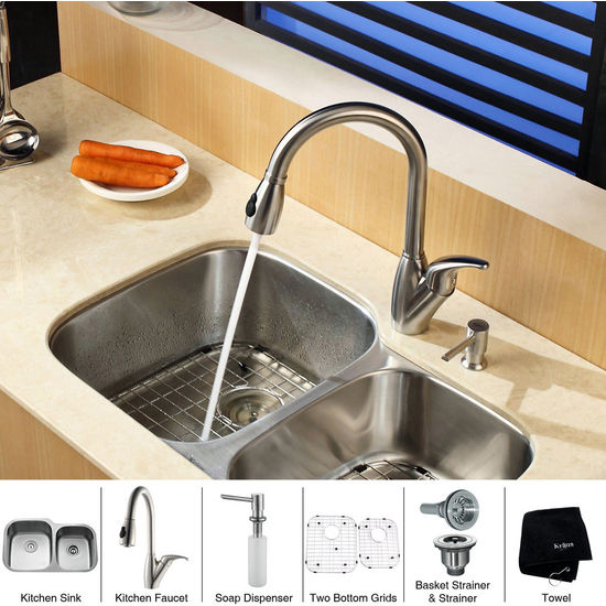 """Kraus 32"""" Undermount Double Bowl Stainless Steel Kitchen Sink with Kitchen Faucet and Soap Dispenser"""