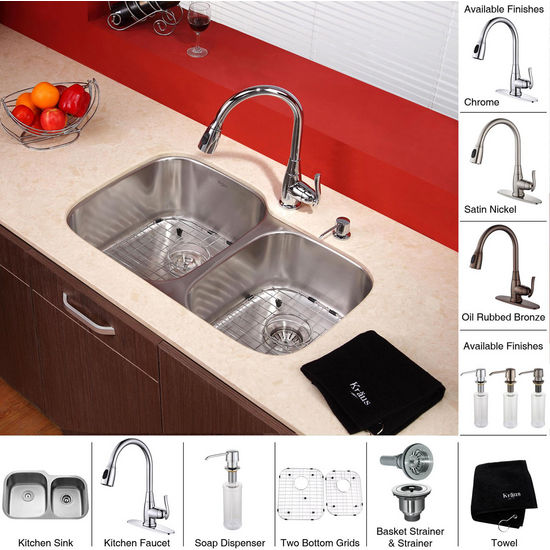 "Kraus 32"" Undermount Double Bowl Stainless Steel Rounded Edge Kitchen Sink with Kitchen Faucet and Soap Dispenser, 32""W x 20-3/4""D x 9""H"