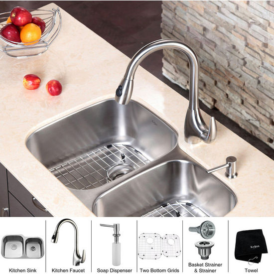 "Kraus  32 inch Undermount Double Bowl 16 gauge Stainless Steel Kitchen Sink (Bowl Sizes 15 3/4"" L x 18 3/4"" W x 9"" D, 13"" L x 16 1/2"" W x 7 1/2"" D) and Stainless Steel Pull out Kitchen Faucet with Soap Dispenser, Stainless Steel"
