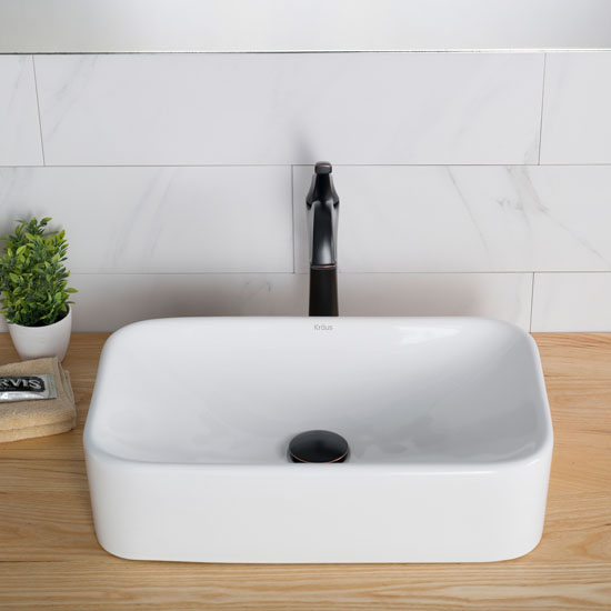 White Rectangular Ceramic Sink