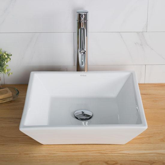 White Square Ceramic Sink