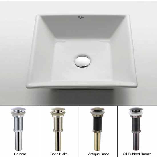 Kraus White Square Ceramic Sink with Pop Up Drain