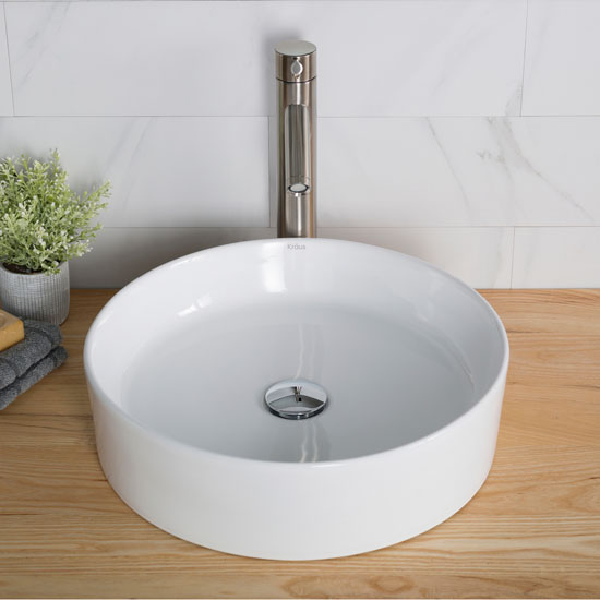 White Round Ceramic Sink