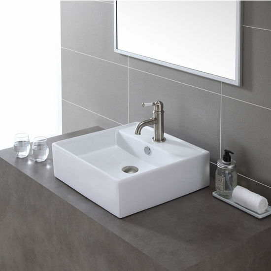 White Square Ceramic Sink