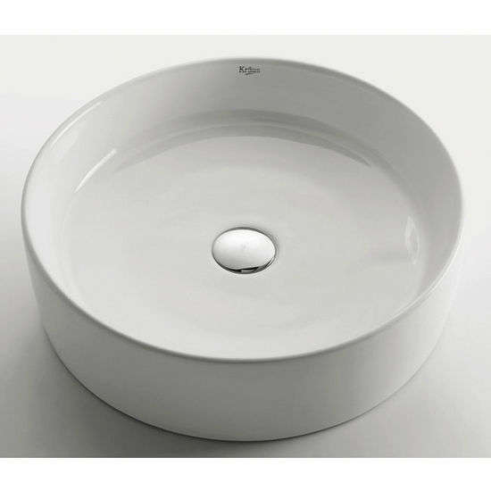 "Kraus White Round Ceramic Sink with Pop Up Drain, 18"" Dia. x 4-6/7""H"