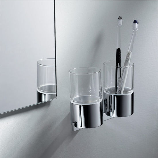 Kraus Aura Bathroom Wall Mounted Double Glass Tumbler Holder