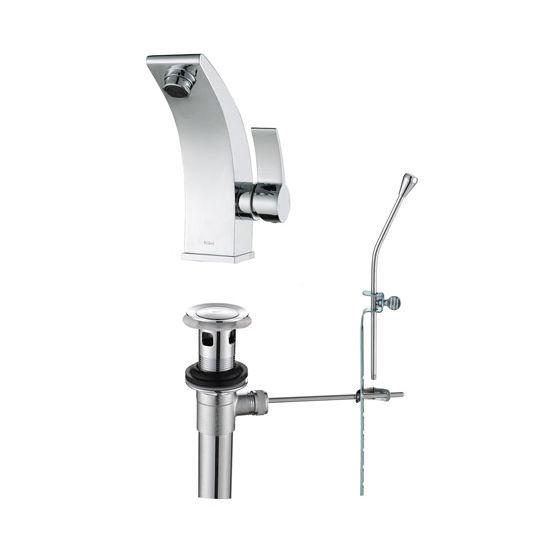 "Kraus Illusio Single Lever Basin Chrome Faucet, 6-9/10""H"