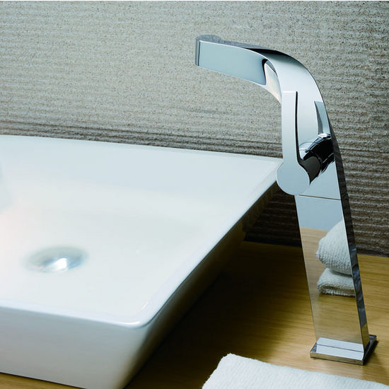 "Kraus Typhon Single Lever Vessel Faucet with Pop Up Drain, Chrome, 11-7/10""H"