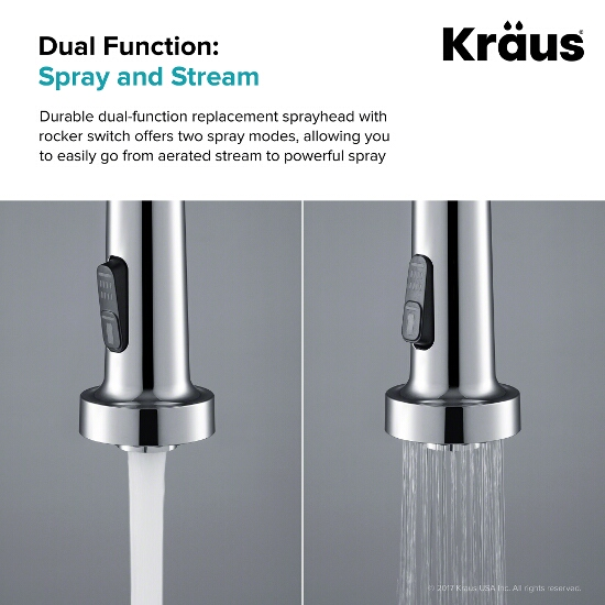 Dual Function Kitchen Faucet Replacement Sprayer Head In Chrome