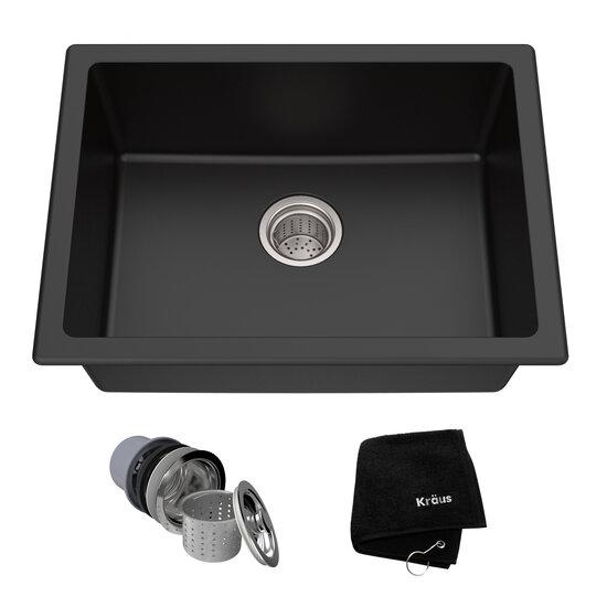 Kitchen Sinks Kgd 410b 24 Dual Mount Single Bowl Black