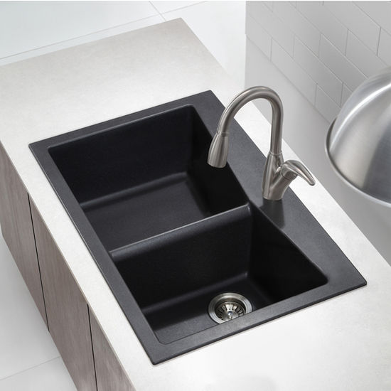 Black Double Sink Kitchen : ... 33-1/2 Dual Mount 60/40 Double Bowl Black Onyx Granite Kitchen ...
