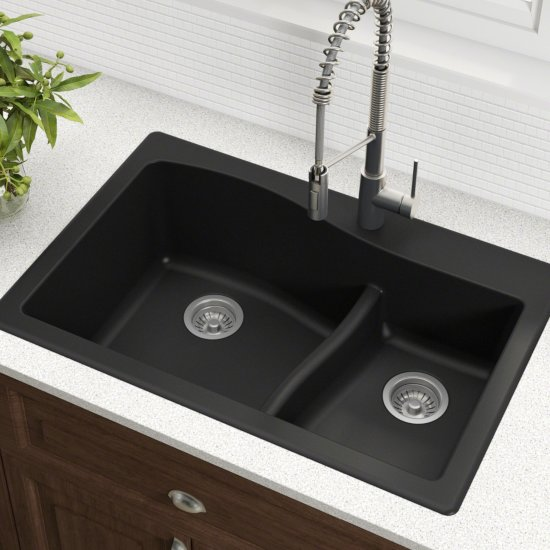 Quarza™ 33'' Wide Dual Mount 60/40 Double Bowl Granite Kitchen Sink on 70 30 undermount stainless steel sink, 24 bathroom vanity with sink, 24 x 16 sink, hammered copper farmhouse sink, copper bowl sink, cast iron undermount double sink,