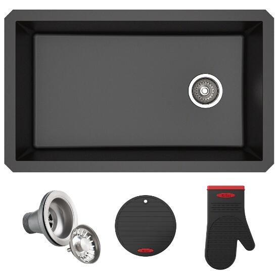 Forteza™ 32u201d Undermount Single Bowl Granite Kitchen Sink In Black Or Grey  By Kraus | KitchenSource.com