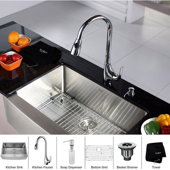 "Kraus 30"" Farmhouse Single Bowl Stainless Steel Kitchen Sink with Chrome Kitchen Faucet and Soap Dispenser"