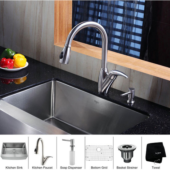 "Kraus 30"" Farmhouse Single Bowl Stainless Steel Kitchen Sink with Kitchen Faucet and Soap Dispenser"