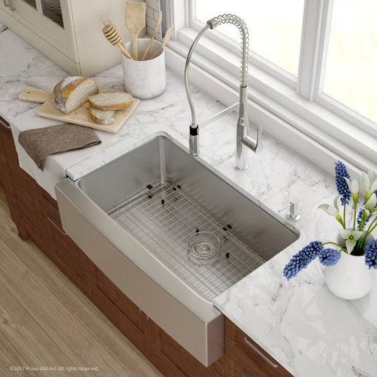 Kitchen Sink Set Overhead View   Chrome