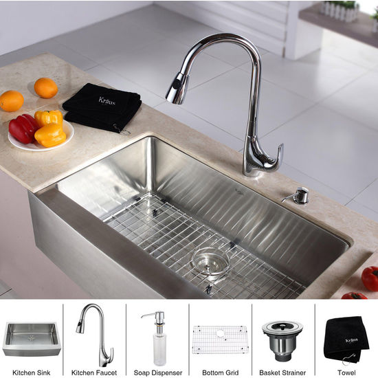 "Kraus 33"" Farmhouse Single Bowl Stainless Steel Kitchen Sink with Chrome Kitchen Faucet and Soap Dispenser"