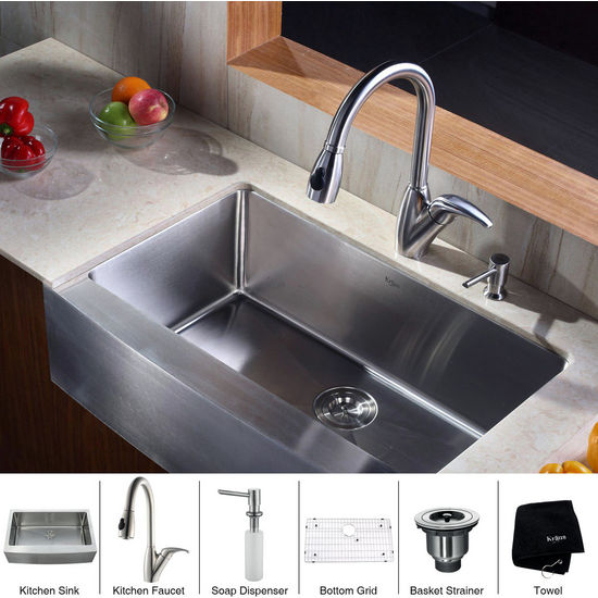 Kraus Stainless Steel 33 inch Farmhouse Single Bowl Kitchen Sink with Kitchen Faucet with Curved Handle and Soap Dispenser
