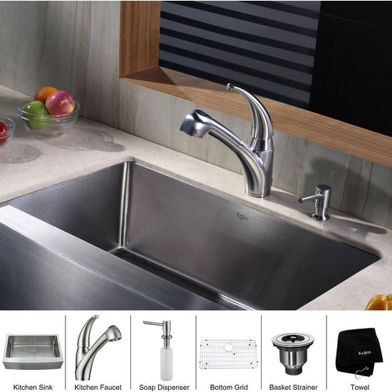 Kraus Stainless Steel 33 inch Farmhouse Single Bowl Kitchen Sink with Kitchen Faucet and Soap Dispenser