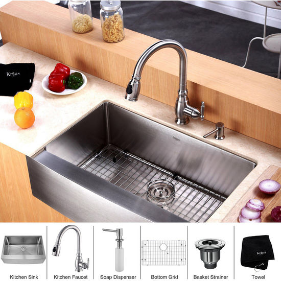 Kraus Stainless Steel 30 inch Farmhouse Single Bowl Kitchen Sink with Kitchen Faucet and Soap Dispenser , Stainless Steel