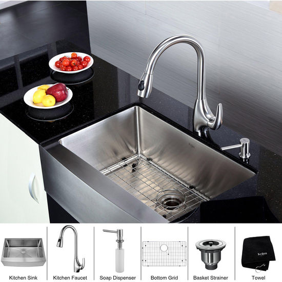 Kraus  30 inch Farmhouse Single Bowl 16 gauge Stainless Steel Kitchen Sink and Stainless Steel Pull out Kitchen Faucet with Soap Dispenser, Stainless Steel
