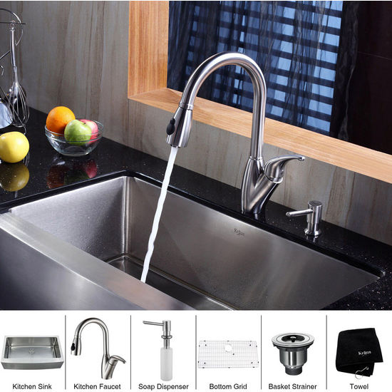 Kraus Stainless Steel 36 inch Farmhouse Single Bowl Kitchen Sink with a Gooseneck Kitchen Faucet 10 inch Reach, Curved Handle and Soap Dispenser, Stainless Steel