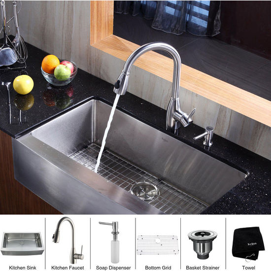 Kraus Stainless Steel 36 inch Farmhouse Single Bowl Kitchen Sink with a Gooseneck Kitchen Faucet, Straight Handle and Soap Dispenser, Stainless Steel