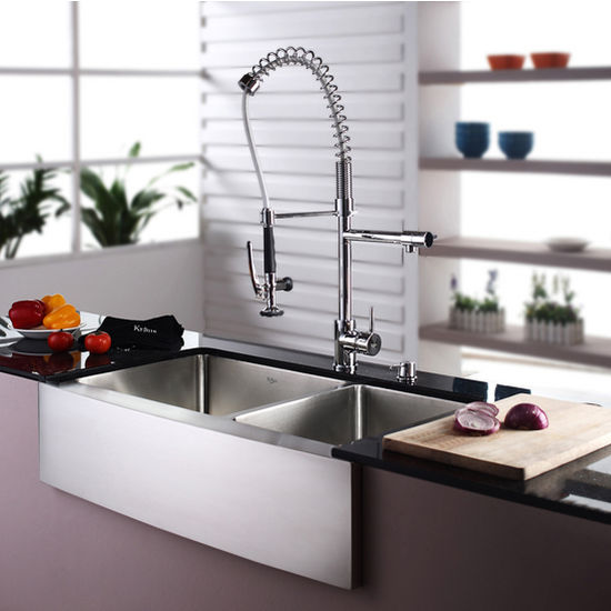 Kraus Farmhouse 70 30 Double Bowl Kitchen Sink and Chrome or Stainless Steel